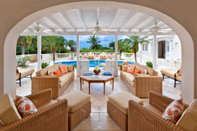 Spacious terrace overlooking the pool