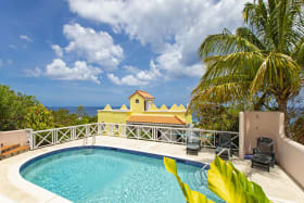 Roof terrace and view of the caribbean sea