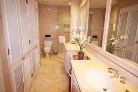 Guest bathroom with double vanity