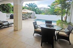 Ground floor pool terrace from bedrooms