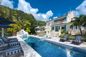 Beautiful pool area and view of house