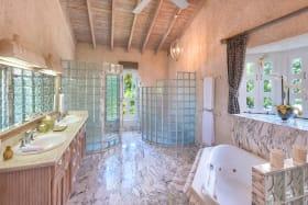 Marble lined master bathroom
