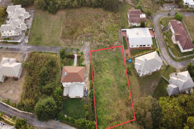 Aerial view of Patricia Gardens Lot 9 with dual road access