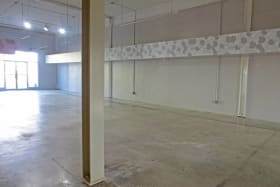 Looking from the back of the space towards the door