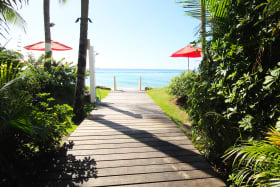 Beach access from the reception of the building