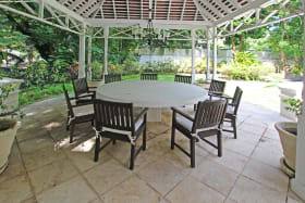 Outdoor dining in the gazebo