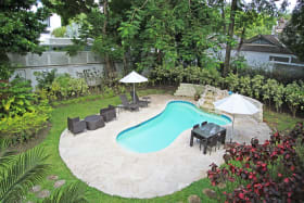 Pool from the upstairs bedroom balcony