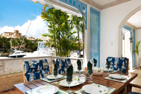 Dining terrace with great marina views