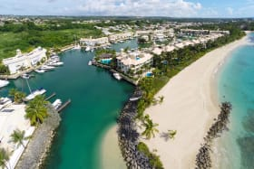 View of marina and south beach at Port St Charles