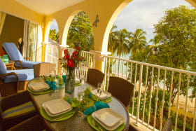 Dining on the patio with a beach view