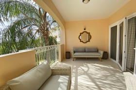 Patio with modern furnishings