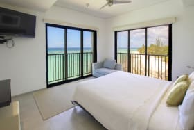 Bedroom with sea views