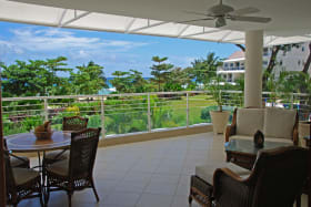 Patio with Views of Caribbean Sea and Pool