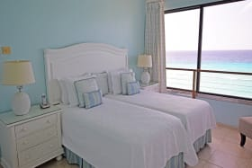 Guest bedroom with sea views