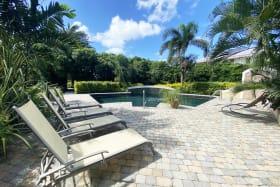 Lush pool area