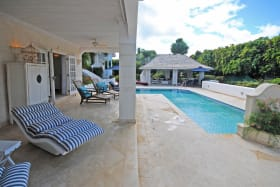 View of pool and gazebo from main bedroom verandah