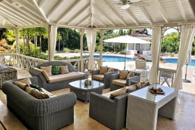 Terrace lounge opens to pool deck