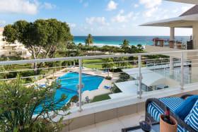 Patio overlooking the pool