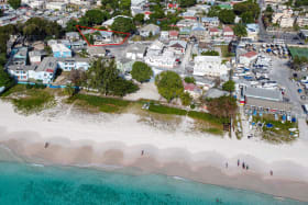 Aerial view of The Bay Bistro outlined