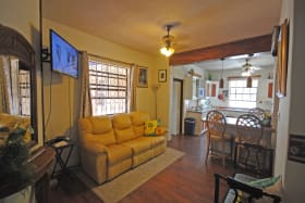 TV area and kitchen