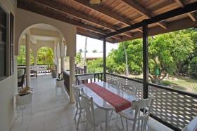 Dining on covered veranda