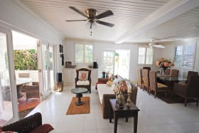 Living and dining room opens to veranda
