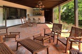 Patio lounge area and bar
