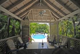 View from poolside gazebo