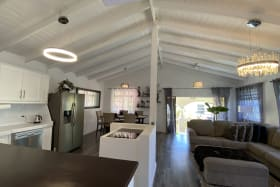 Open plan kitchen, living and dining room
