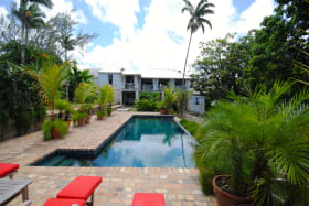 View of main house from swimming pool terrace