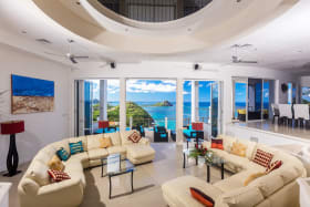 Sunken circular living room looking out towards the Caribbean Sea