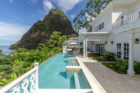 View across the pool to Petit Piton