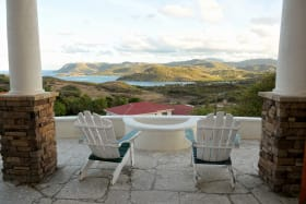Stone Patio with views of Comerette Point