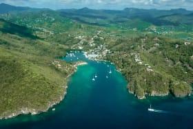Aerial view of Marigot Bay