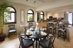 Dining area with Miele equipped kitchen