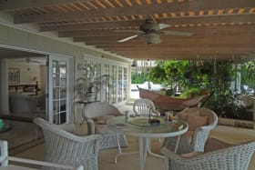 Outdoor covered patio facing the beach