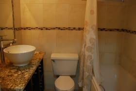 Upgraded bathroom with tub