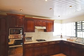 Large kitchen with built in double oven