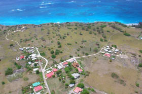 Aerial view of site looking east