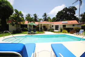 View of main house from the swimming pool terrace
