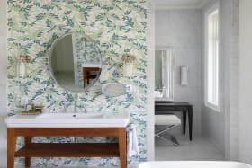 Guest Bathroom with nature inspired mosaic