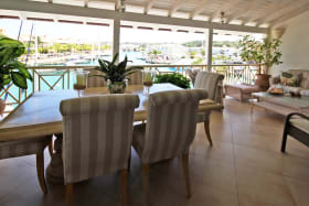 Outdoor dining facing the lagoon