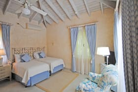 One of the guest bedrooms on the ground floor pool views