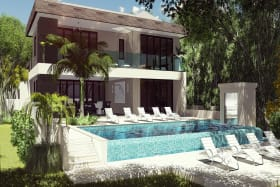 Renders of an approved villa suitable for the lot.