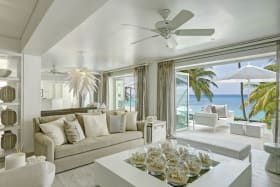 Sitting Room & Patio with Ocean View