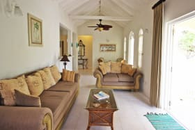 Living room with high ceilings