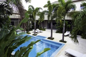 Courtyard with salt water pool
