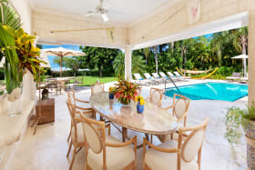 Dining opens to swimming pool terrace and garden