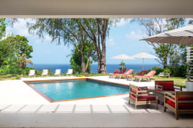 Pool and garden with gorgeous sea views