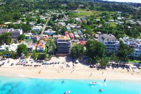 Aerial shot of The St. James and beach